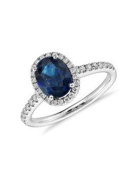 Sapphire And Micropavé Diamond Halo Ring In 14k White Gold (8x6mm) by Blue Nile