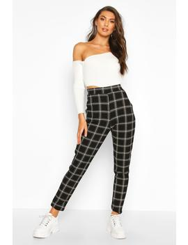 Tall Check Skinny Trousers by Boohoo