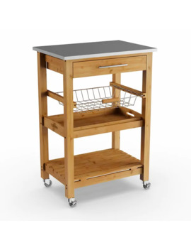 Porch & Den Ramsey Bamboo Kitchen Cart With Stainless Steel Top by Porch & Den