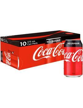 Coca Cola No Sugar Fridge Mate Cans 10x375ml Pack by Coca Cola