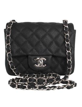 Classic Flap Rare 7831 Black Caviar Leather Shoulder Bag by Chanel