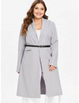 Salezaful Plus Size Shawl Collar Wrap Coat   Light Gray L by Zaful