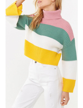 Ribbed Colorblock Turtleneck Sweater by Forever 21