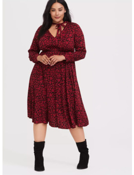 Black & Red Hearts Challis Midi Dress by Torrid