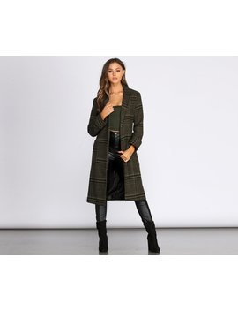 Perfectly Poised Long Plaid Coat by Windsor