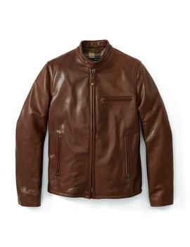 Waxed Natural Pebbled Cowhide Café Leather Jacket by Schott