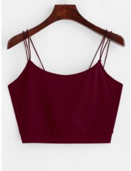 Zaful Solid Color Crop Strappy Cami Top   Red Wine L by Zaful
