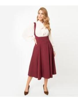 Unique Vintage 1950s Burgundy High Waisted Amma Suspender Swing Skirt by Unique Vintage