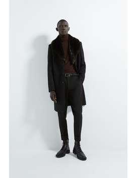 Faux Fur Collar Coat by Zara