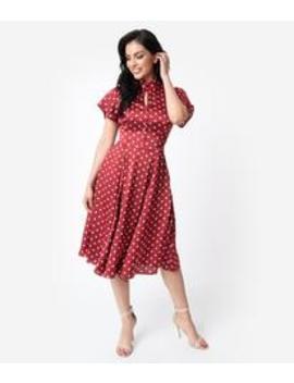Unique Vintage 1950s Red & Ivory Polka Dot Baltimore Swing Dress by Unique Vintage