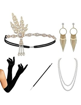 The Great Gatsby Charleston 1920s The Great Gatsby Roaring 20s Costume Accessory Sets Gloves Flapper Headband Women's Tassel Costume Head Jewelry Earrings Pearl Necklace Black / Golden / Black+Sliver  #07045338 by Lightinthebox