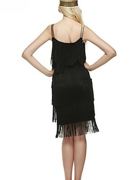 The Great Gatsby Charleston Vintage 1920s Roaring Twenties Summer Flapper Dress Party Costume Masquerade Women's Tassel Costume Black / White / Gray Vintage Cosplay Party Homecoming Prom  #06985645 by Lightinthebox