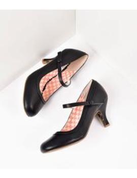 Bettie Page Black Leatherette Bettie Retro Mary Jane Heels by Unique Vintage