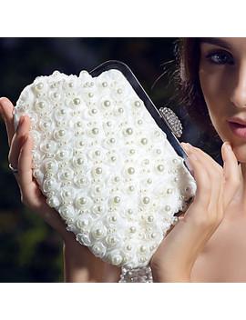 Women's Imitation Pearl Satin Evening Bag Ivory  #01568321 by Lightinthebox