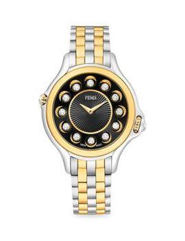 Crazy Carats Black Spinel, White Topaz, Diamond & Two Tone Stainless Steel Bracelet Watch by Fendi