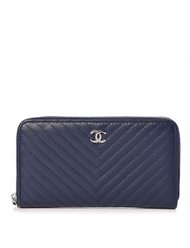 Chanel Caviar Chevron Quilted Small Zip Around Wallet Navy by Chanel