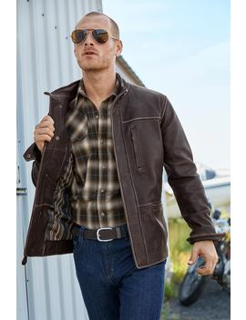 Falcon Bluff Leather Jacket by Metrostyle