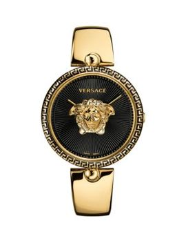 Logo Black Dial & Goldtone Ip Bracelet Watch by Versace
