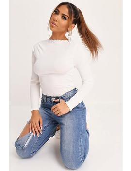White Ribbed Cabbage Hem Long Sleeve Top by I Saw It First