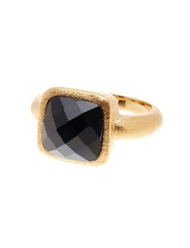 Petite Faceted Onyx Satin Ring by Rivka Friedman