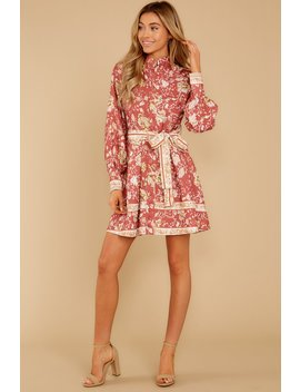 Certain Romance Rose Pink Floral Print Dress by Ina Fashion
