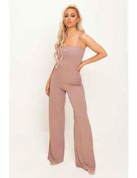 Taupe Cami Ribbed Wide Leg Jumpsuit by I Saw It First