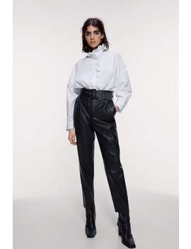 Belted Faux Leather Pants View All Pants Woman by Zara