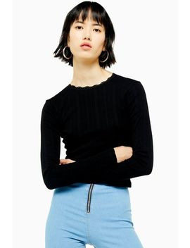 Black Pointelle Long Sleeve Top by Topshop