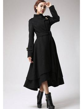 Wool Coat Women, Black Coat, Long Coat, Warm Jacket, Layered Coat, Asymmetrical Coat, Tie Belt Coat, Womens Clothing, Plus Size Coat 0703# by Etsy