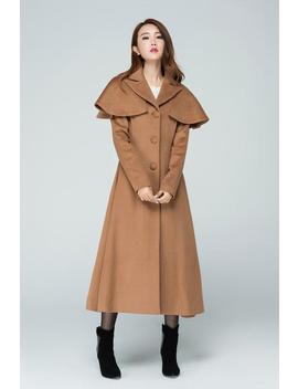 Camel Wool Coat, Cape Coat , Long Wool Coat, Brown Coat, A Line Wool Coat, Winter Coat, Wool Coat, Stylish Coat, Party Coat 1599# by Etsy