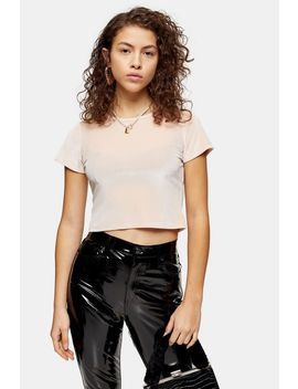 Petite Velvet Cropped T Shirt by Topshop
