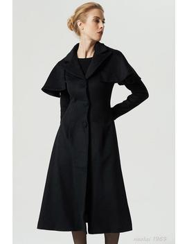 Black Coat, Wool Coat,  Capelet Coat, Long Coat, Winter Coat, Warm Coat, Long Trench Coat, Women Coat, Fitted Coat, Swing Coat  1969# by Etsy