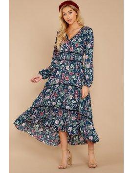 Falling In Love Navy Floral Print Dress by Fanco