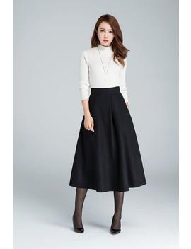 Midi Wool Skirt, A Line Skirt, Wool Skirt, Woman Skirt, Black Winter Skirt, Fitted Skirt, Handmade Skirt, Warm Winter Skirt 1636# by Etsy