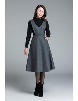 Midi Wool Dress, Knee Length Dress, Dark Grey Dress, Dress With Pockets, High Waisted Dress, Casual Dress, Winter Dress For Woman 1645# by Etsy