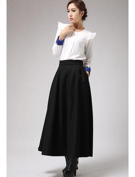 Black Wool Skirt, Maxi Skirt, Winter Skirt, Pleated Skirt, Ladies Skirts, High Waisted Skirt, Long Skirt, Custom Made Skirt 0722# by Etsy