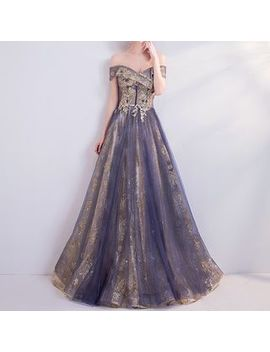 Fioridi   Sequined Off Shoulder A Line Evening Gown by Fioridi