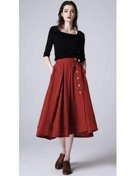 Button Skirt, Red Skirt, Linen Skirt, A Line Skirt, Linen Clothing, Midi Skirt, Elastic Waist Skirt, Pockets Skirt, Custom Made 1196# by Etsy