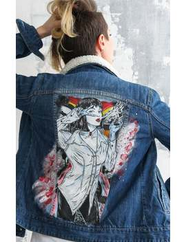 Denim Jacket Pulp Fiction Hand Painted by Etsy
