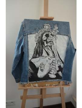 Death Custom Denim Jackets With Art Jacket Jean Streetwear Diy Patches Customized Acrylic Painting Pop Art Neon Acrylic Painting by Etsy