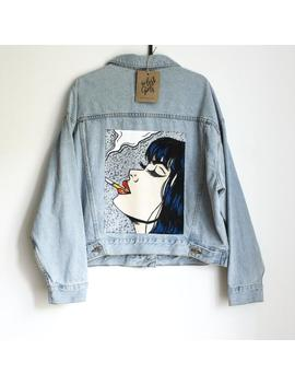 Smoking Woman   Hand Painted Denim Jacket by Etsy