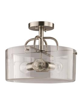 3 Light Brushed Nickel Semi Flush Mount With Clear Glass Shade by Home Decorators Collection