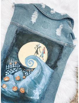Custom Painted Nightmare Before Christmas Denim Jacket by Etsy