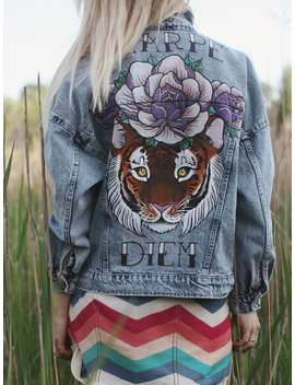 Handpainted Denim Jacket With Tiger Carpe Diem by Etsy