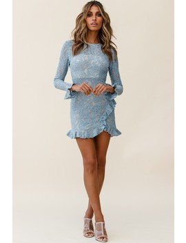 Tilly Lace Overlay Ruffle Trimmed Back Midnight Blue by Selfie Leslie