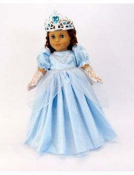 """Doll Clothes 18\"""" Dress Cinderella Blue Gloves Tiara Fits American Girl Dolls by Afw"""
