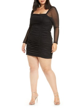 Ruched Long Sleeve Body Con Minidress by Leith