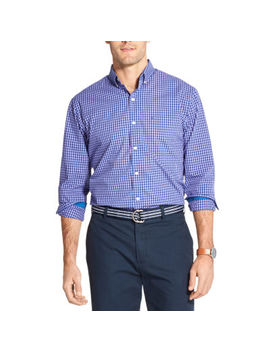 Izod Premium Essentials Mens Long Sleeve Gingham Button Front Shirt by Izod