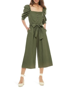 Sylvie Puff Sleeve Linen Blend Jumpsuit by Gal Meets Glam Collection