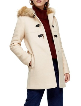 Patty Faux Fur Trim Hooded Coat by Topshop